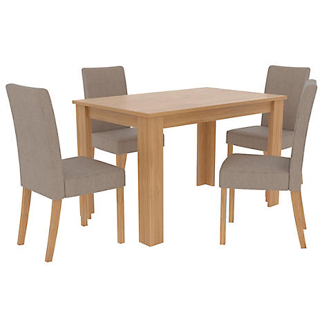 Atlanta Oak Effect Wood Dining Table 4 Anna Twill Fabric Chairs