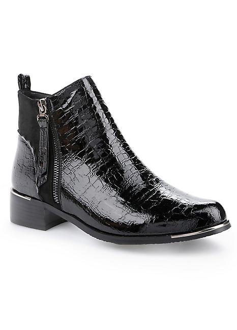 faux croc ankle boots