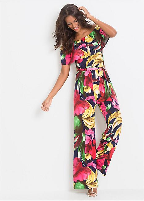 e953645215f Off-The-Shoulder Floral Print Jumpsuit by BODYFLIRT boutique