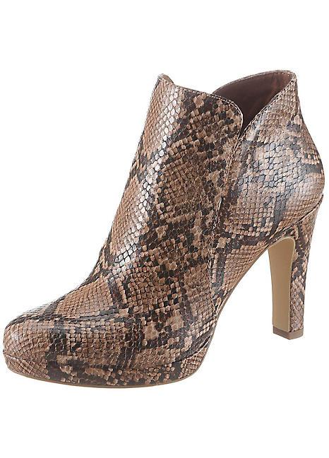 Tamaris Snake Print Ankle Boots   Grattan