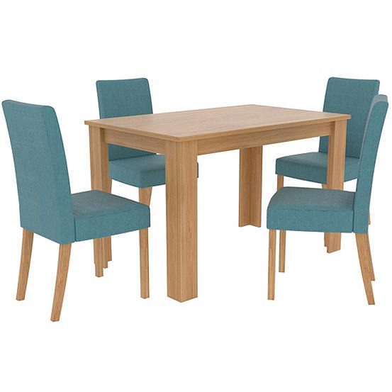 Phenomenal Atlanta Oak Effect Rectangular Table 4 Anna Upholstered Chairs Dining Set Andrewgaddart Wooden Chair Designs For Living Room Andrewgaddartcom