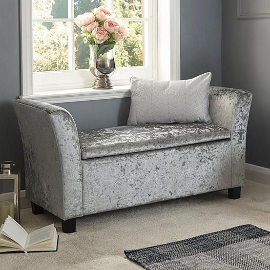 Awesome Verona Crushed Velvet Window Seat Ottoman Bralicious Painted Fabric Chair Ideas Braliciousco